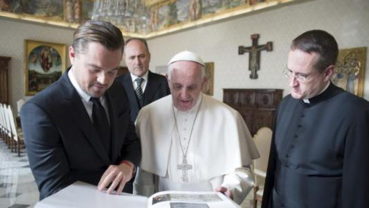 Pope Francis meets actor Leonardo DiCaprio at the Vatican